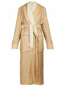 Loewe - Layered Single Breasted Nylon And Wool Coat - Womens - Camel