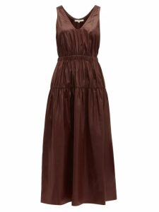 Tibi - Liquid Drape Gathered Waist Dress - Womens - Burgundy