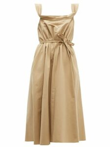 Brock Collection - Patti Cowl Neck Cotton Faille Midi Dress - Womens - Beige