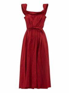 Brock Collection - Patti Scoop Neck Crinkle Satin Midi Dress - Womens - Burgundy