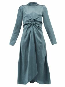 Sies Marjan - Nara Ruched Satin Dress - Womens - Dark Grey