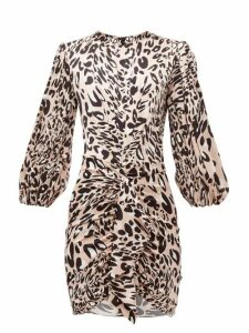 Alexandre Vauthier - Leopard Print Stretch Silk Satin Mini Dress - Womens - Pink Print