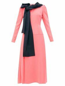 Roksanda - Marira Tie Neck Silk Midi Dress - Womens - Pink