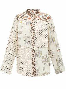 La Prestic Ouiston - Cottage Contrast Print Silk Shirt - Womens - White Multi