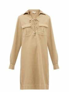 Nili Lotan - Andrea Lace Up Cotton Blend Shirtdress. - Womens - Camel