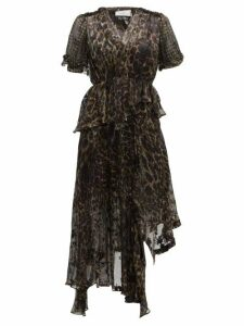 Preen By Thornton Bregazzi - Esther V Neck Leopard Print Devoré Dress - Womens - Leopard