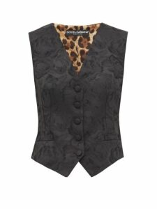 Dolce & Gabbana - Jacquard And Leopard Print Waistcoat - Womens - Black