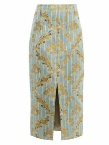Brock Collection - Pectolite Floral Cotton Blend Jacquard Skirt - Womens - Blue Multi