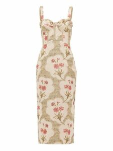 Brock Collection - Pelagia Floral Print Corseted Midi Dress - Womens - Beige Multi