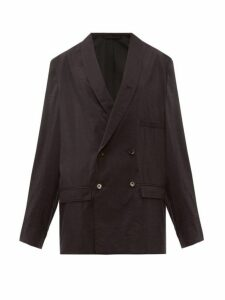 Lemaire - Oversized Double Breasted Silk Blend Blazer - Womens - Black