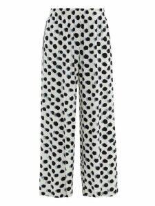Norma Kamali - Polka Dot Print Side Striped Jersey Trousers - Womens - White Black
