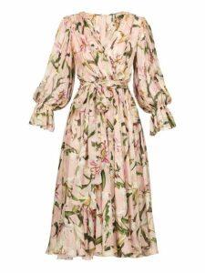 Dolce & Gabbana - Lily Print Tie Waist Dress - Womens - Pink