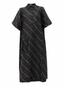 Ganni - Mini Floral Print Side Slit Linen Blend Dress - Womens - Black Multi