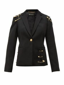 Versace - Safety Pin Single Breasted Wool Blazer - Womens - Black