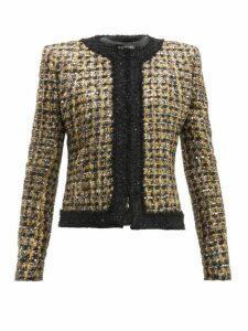 Balmain - Sequinned Lamé Bouclé Jacket - Womens - Gold Multi