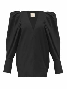 Khaite - Connie V Neck Puff Sleeve Cotton Blouse - Womens - Black