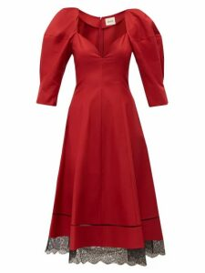 Khaite - Dina Puff Sleeve Cotton Midi Dress - Womens - Dark Red