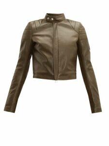 Bottega Veneta - Cropped Leather Biker Jacket - Womens - Khaki