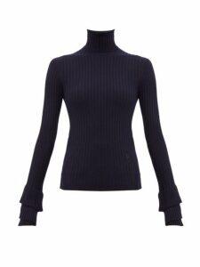 Chloé - Roll Neck Ribbed Merino Wool Sweater - Womens - Navy