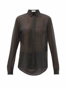 Saint Laurent - Polka Dot Silk Georgette Shirt - Womens - Black White