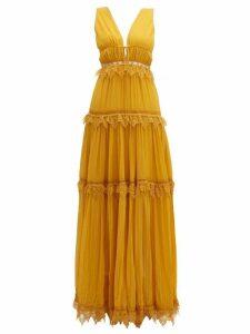 Jonathan Simkhai - Lace Trimmed Tiered Silk Maxi Dress - Womens - Dark Yellow