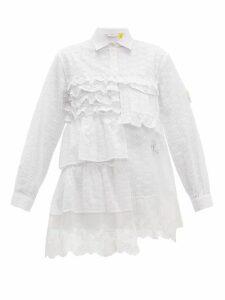4 Moncler Simone Rocha - Broderie Anglaise Ruffled Cotton Blend Shirt - Womens - White