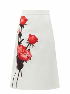 Prada - Divisa A Line Cotton Midi Skirt - Womens - White Print