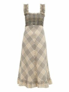 Ganni - Check-print Shirred Seersucker Dress - Womens - Cream Multi