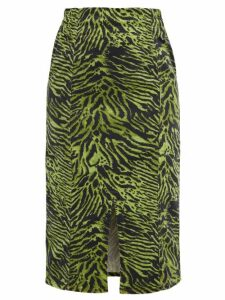 Ganni - Tiger Print Stretch Cotton Blend Skirt - Womens - Green