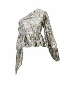 Ganni - Metallic Floral Print One Shoulder Blouse - Womens - Silver