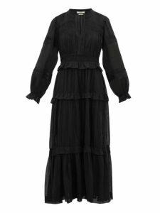 Isabel Marant Étoile - Likoya Pintucked Cotton Voile Dress - Womens - Black