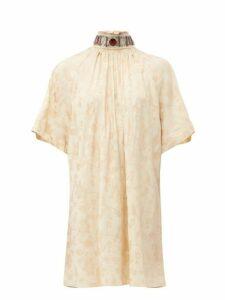 Chloé - Embellished Tie Back Floral Jacquard Dress - Womens - Beige Multi