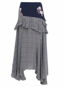 Preen Line - Jolissa Checked Ruffle Trim Crepe Midi Skirt - Womens - Multi