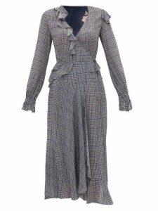Preen Line - Maieke Ruffled Gingham And Floral Print Dress - Womens - Multi