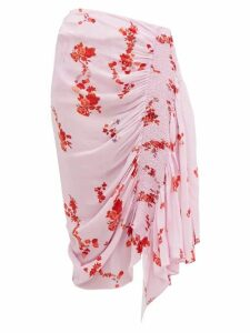 Preen Line - Mertilda Floral Print Ruched Skirt - Womens - Pink Multi