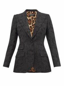 Dolce & Gabbana - Single Breasted Rose Jacquard Fitted Blazer - Womens - Black