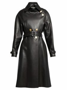 Alexandre Vauthier - Belted Double Breasted Leather Coat - Womens - Black