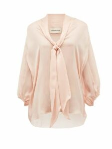 Alexandre Vauthier - Tie Neck Silk Satin Chiffon Blouse - Womens - Light Pink