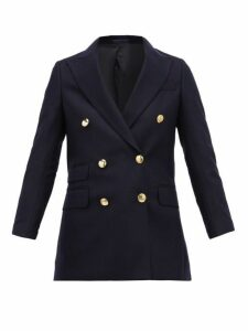 Officine Générale - Manon Double Breasted Felted Wool Blazer - Womens - Navy