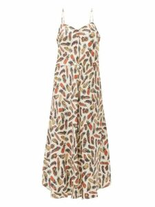 La Prestic Ouiston - Muguet Feather Print Silk Midi Dress - Womens - White Multi