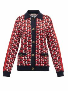 Miu Miu - Monogram Jacquard Wool Blend Cardigan - Womens - Navy Multi