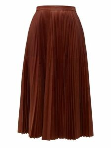 Prada - Pleated Leather Midi Skirt - Womens - Brown