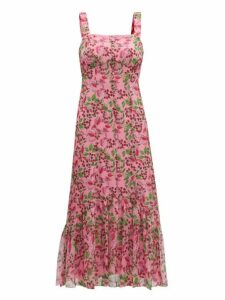 Saloni - Joel Floral And Berry Print Silk Midi Dress - Womens - Pink Multi