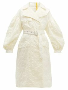 4 Moncler Simone Rocha - Dinah Balloon Sleeve Floral Embroidered Coat - Womens - White