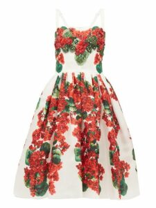 Dolce & Gabbana - Geranium Print Silk Organza Dress - Womens - Red And Whte