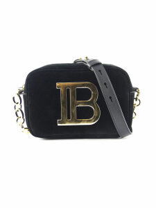 Balmain Black Velvet Shoulder Bag