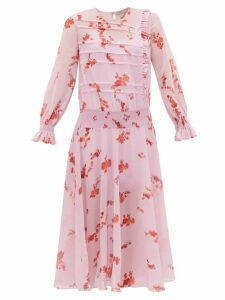 Preen Line - Gilda Shirred Floral Print Crepe Dress - Womens - Pink Multi