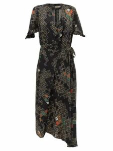 Preen Line - Bessara Geometric Print Wrap Dress - Womens - Black Multi