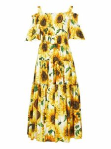 Dolce & Gabbana - Sunflower Print Tiered Cotton Poplin Midi Dress - Womens - Yellow Multi