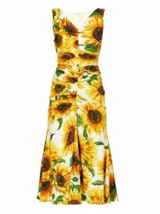 Dolce & Gabbana - Sunflower Print Gathered Midi Dress - Womens - Yellow Multi